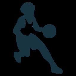 Jogador de basquete feminino executando bola jogador shorts acessório camiseta silhueta detalhada