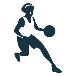 Jugador de baloncesto mujer corriendo pelota jugador pantalones cortos accesorio camiseta detallada silueta