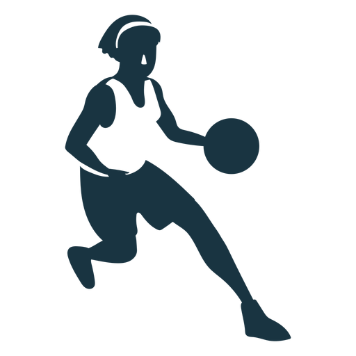 Jugador de baloncesto femenino corriendo jugador de pelota pantalones cortos accesorio camiseta silueta detallada