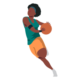Basketball player female running ball player shorts t shirt flat