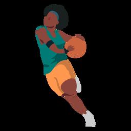 Jogador de basquete feminino executando bola jogador shorts camiseta plana