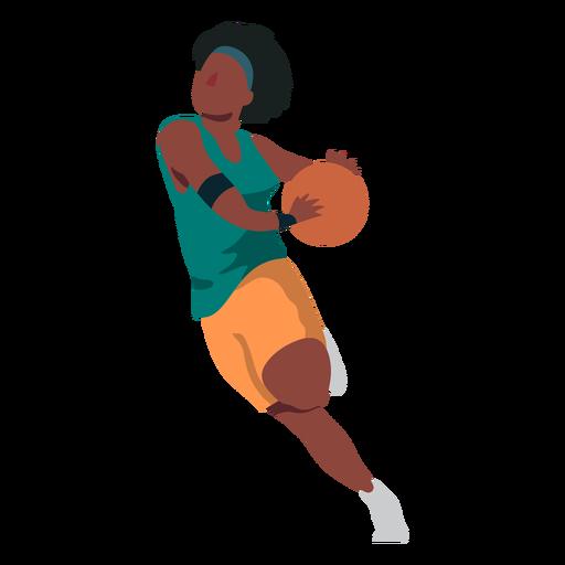 Basketball player female running ball player shorts t shirt flat