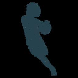 Jugador de baloncesto mujer corriendo pelota jugador pantalones cortos camiseta a rayas silueta