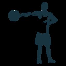 Baloncesto jugador jugador pelota calzones camiseta calva silueta detallada