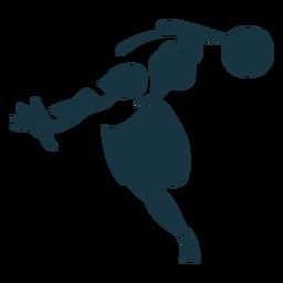 Jugador de baloncesto jugador pelota cortos silueta detallada