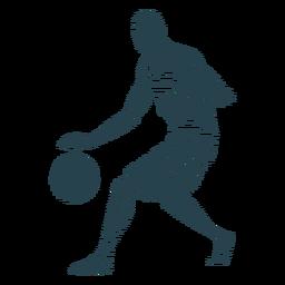 Basketball-Spieler-Spieler-Ballkurzschluss-T-Shirt kahles gestreiftes Schattenbild