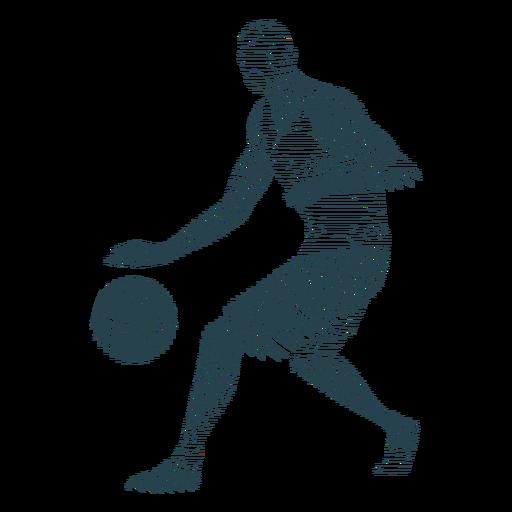 Baloncesto jugador jugador pelota pantalones cortos camiseta calva silueta a rayas Transparent PNG