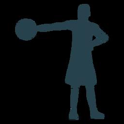 Jogador de basquete jogador shorts t camisa bola listrada silhueta
