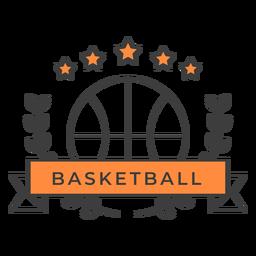 Etiqueta engomada de la insignia de la rama de la bola del baloncesto