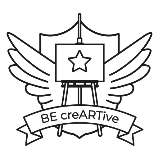 Be creartive easel star wing badge stroke Transparent PNG