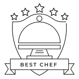 Mejor plato de chef estrella insignia trazo