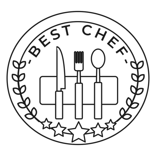 Best chef fork knife spoon branch star badge stroke Transparent PNG