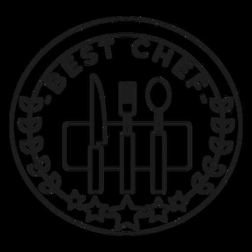 Mejor cocinero tenedor cuchillo cuchara rama estrella insignia trazo Transparent PNG