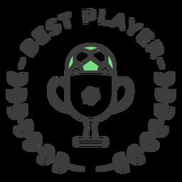 Etiqueta engomada coloreada de la rama de la taza de la mejor bola del jugador