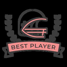 Etiqueta engomada coloreada de la mejor rama del casco del mejor jugador