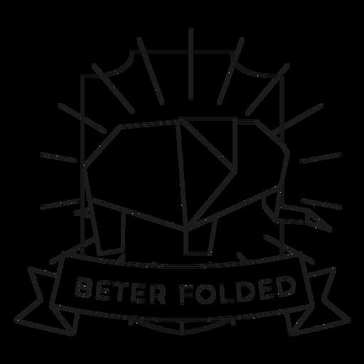 Beter folded paper elephant badge line Transparent PNG