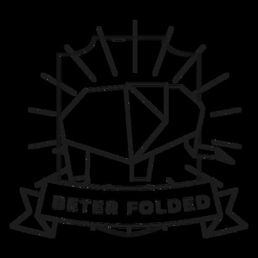 Beter folded paper elephant badge stroke Transparent PNG