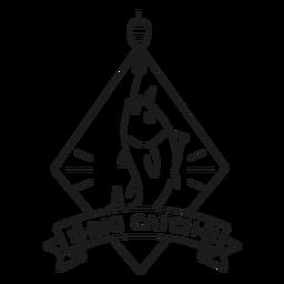 Big catch fish hook rhomb star badge line