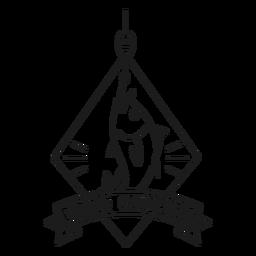 Big catch fish hook rhomb star badge stroke