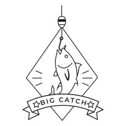 Peixe grande captura gancho rhomb estrela distintivo acidente vascular cerebral