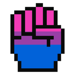 Bisexual hand finger fist stripe pixel flat