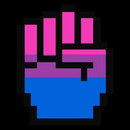 Mão de bissexual dedo punho listra pixel plana