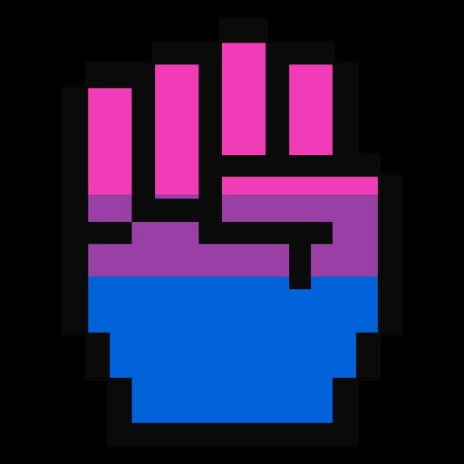 Bisexual hand finger fist stripe pixel flat Transparent PNG