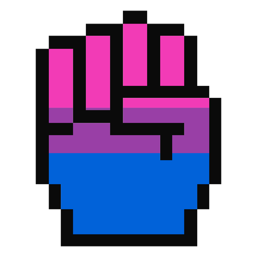 Mão de bissexual dedo punho listra pixel plana Transparent PNG