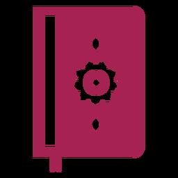 Libro de doble página página flor cubierta marcador silueta detallada