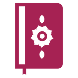 Libro página doble página flor cubierta marcador silueta detallada