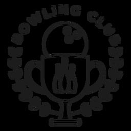 Bowling Club Ball Cup Kegel Zweig Abzeichen Schlaganfall