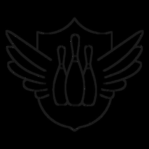 Línea de insignia de ala de bolos huelga de bolos Transparent PNG
