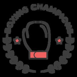 Campeones de boxeo Guante boxeo guante estrella rama etiqueta coloreada etiqueta