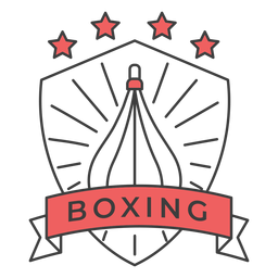 Boxing punchbag star colored badge sticker