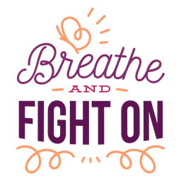 Breathe and fight on curl butterfly badge sticker