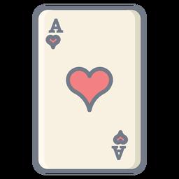 Tarjeta ace corazones planos