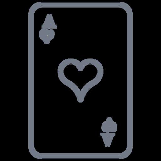 Tarjeta ace corazones trazo Transparent PNG