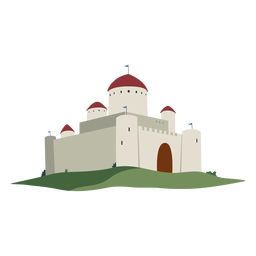 Castle fortress dome flag illustration