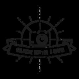 Clique com a linha de crachá de flash de objetivo de lente de câmera de amor