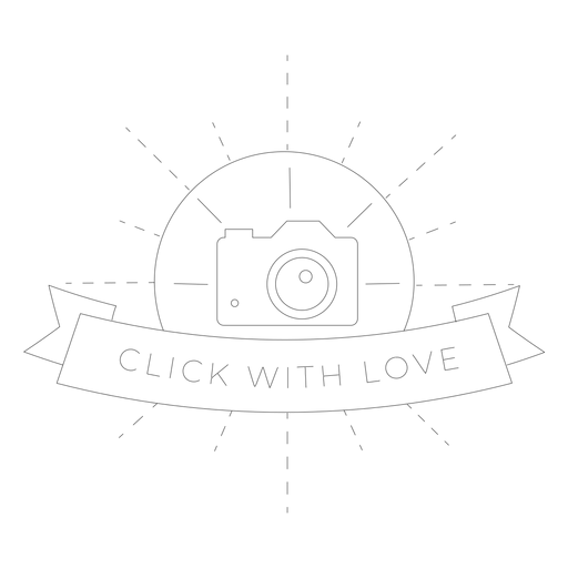Click with love camera lens objective flash badge line
