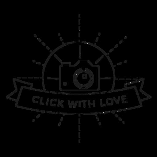 Haga clic con el amor lente de la c?mara objetivo flash insignia l?nea