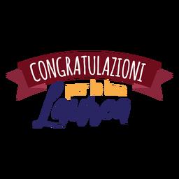 Etiqueta de cinta Congratulazioni per la tua laurea