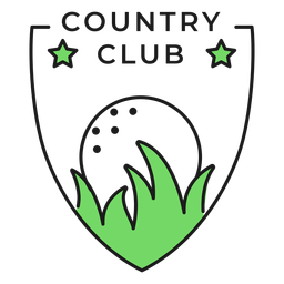 Country club ball grass star colored badge sticker