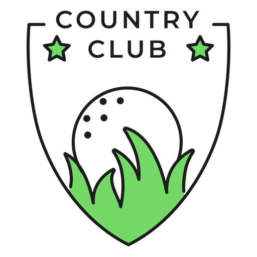 Country club ball grass star colored badge sticker Transparent PNG