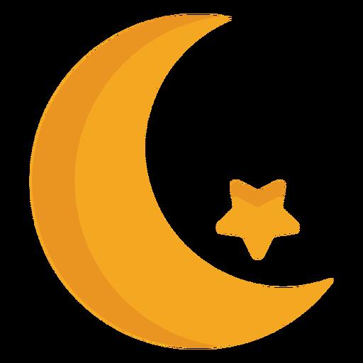 Estrella media luna plana Transparent PNG