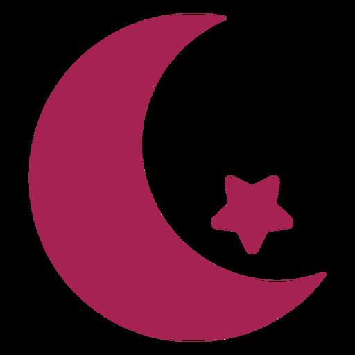 Silueta de estrella de la media luna Transparent PNG