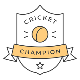 Cricket champion ball star colored badge sticker
