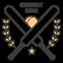 Autocolante de distintivo colorido de bola de morcego de cricket deus
