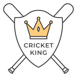 Cricket king bat crown colored badge sticker