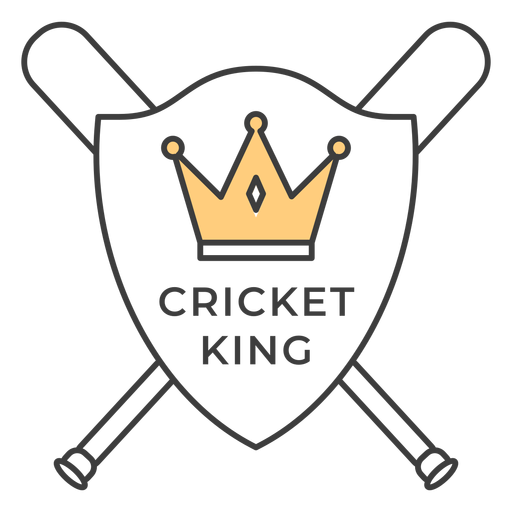 Cricket king bat crown colored badge sticker Transparent PNG